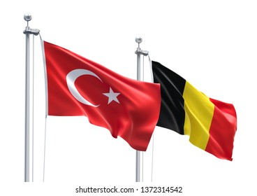 3D Rendering of Turkey & Belgium Flags are Waving in the Sky - 3d illustration