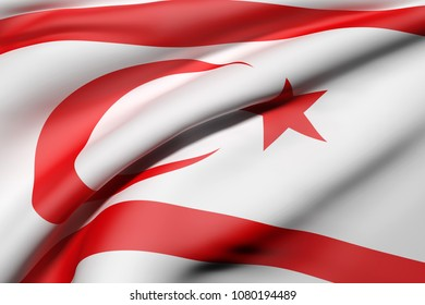 3d rendering of Turkish Republic of Northern Cyprus flag waving