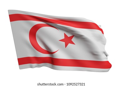 3d rendering of Turkish Republic of Northern Cyprus flag waving on white background