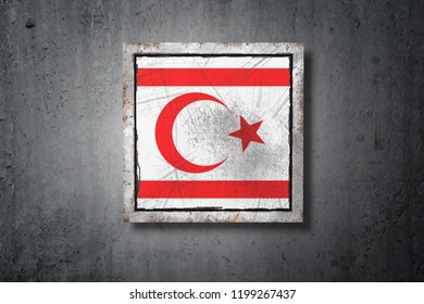 3d rendering of a Turkish Republic of Northern Cyprus flag in a concrete wall