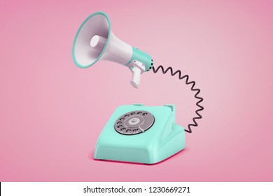 3d rendering of turquoise retro phone with a dial stands on a pink background connected to a megaphone by a black cord. Retro and vintage tech. Phone and dial. Communication and public speech.
