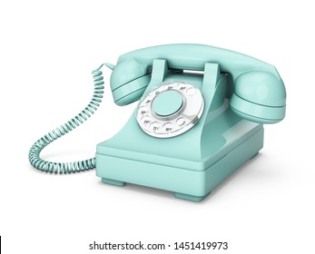 3D rendering turquoise vintage phone isolated on white background
