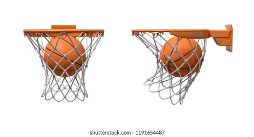 3d rendering of two basketball nets with orange hoops with a ball falling inside. Basketball score. Ball game. Empty and full hoop.