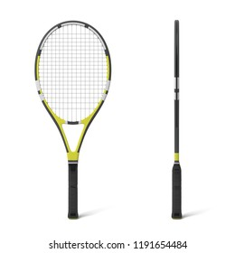 3d rendering of two black and yellow tennis racquets in front and side view. Tennis gear. Game set. Competitors on court.