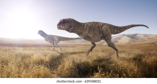 A 3d rendering of two Carnotaurus scouting out for their next meal in open landscape.