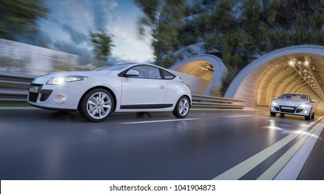 3d rendering of Two Cars Leaving the Tunnel