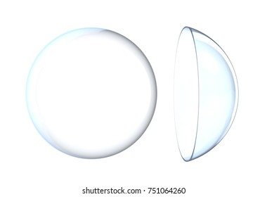 3d rendering two contact lens isolated on white