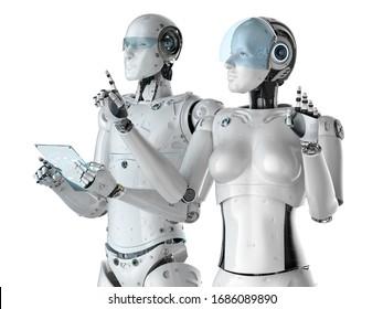 3D-Darstellung von zwei Cyborgs funktioniert mit einer Glastablette auf weißem Hintergrund