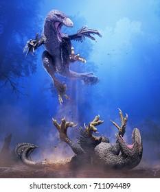 3D rendering of two Dakotaraptors skirmishing at night in Hell Creek 66 million years ago.