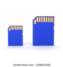 3D Rendering of two different size SD Cards.