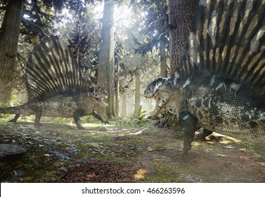 3D rendering of two Dimetrodons challenging each other.