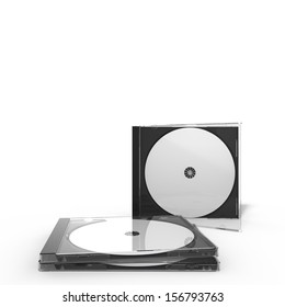 3d rendering of two disc cases, isolated on white background