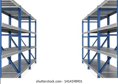 3d rendering of two empty metal rack shelves isolated on white background. Industrial warehouses. Packaging and storage. Digital art.
