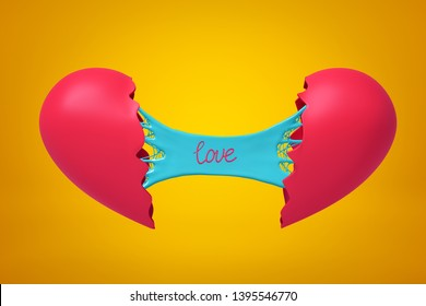 3d rendering of two halves of broken heart joined with blue sticky slime banner with title love on it on yellow background. Heartaches. Rejected feelings. Mend relationship.