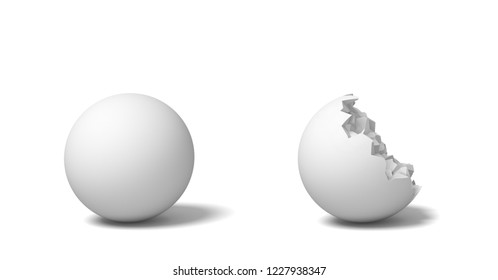 3d rendering of two isolated white round balls standing near each other, one whole and another half-broken. Perfect circle destroyed. Broken shape. Stone ball.