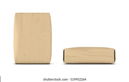 3d rendering of two light beige cement sacks, side view and front view, isolated on the white background. Construction and repair. Building and Reconstruction. House-building. Supplies and materials.
