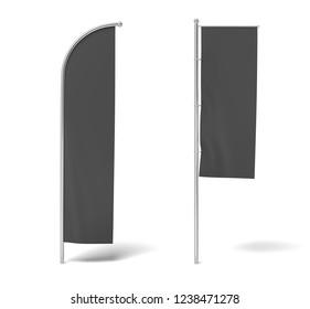 3d rendering of two monochrome black flags hanging on posts on a white background. Black flag. Symbols and signs. Advertisement.