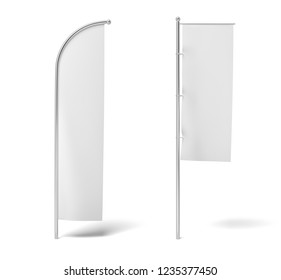3d rendering of two monochrome white flags hanging on posts on a white background. White flag. Symbols and signs. Advertisement.