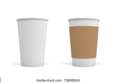 3d rendering of two open white coffee cups, one with a carton sleeve on and one empty. Morning coffee. Takeout drinks. Coffee take out and delivery.