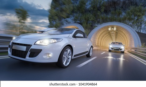 3d rendering of Two Passenger Cars Coming out of the Tunnel