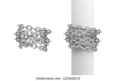 3d rendering of two pieces of steel chains, one curled around a post, and another around itself. Bound by chains. Caught and restrained. Life burdens.