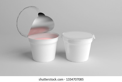 3D rendering two plastic tub with foil lid container for dessert, yogurt, ice cream, sour cream, snack, butter, margarine or cheese, 3d-illustration mockup template.