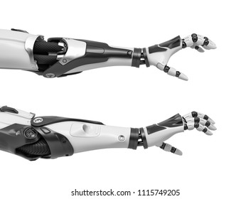 3d rendering of two robot arms with hand fingers in grabbing motion on white background. Grab and catch. Robot takes object. Android receives something.