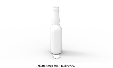 3D rendering of two small drink bottles glass isolated in empty space
