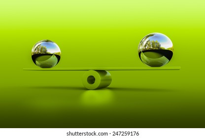 3d rendering of two spheres in balance