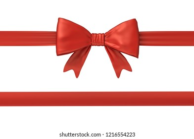 3d rendering of two strips of red gift ribbon, one of them with a bow on a white background. Wrapped for gift giving. Prepare presents. Gift wrap bow.