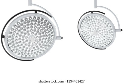 3d rendering two surgery lights or medical lamps isolated on white
