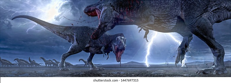 3D rendering of two Tyrannosaurus Rex fighting for hunting rights.