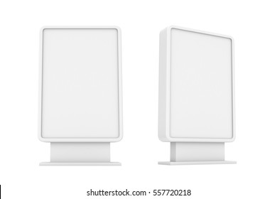 3d rendering of two white empty street billboards isolated on white background. Street advertizing. Billboards and street furniture. Business and advertizing.