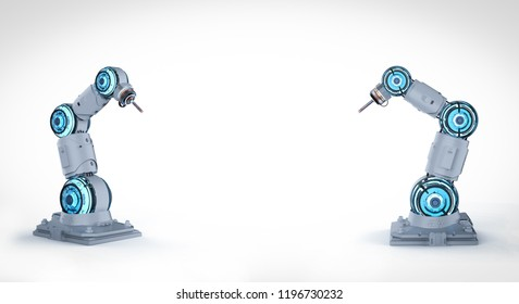 3d rendering two white robotic arms with blank space on white background