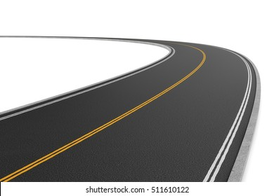 3d rendering of a two-way road bending to the left on a white background. Road markings and sighns. Change of direction. New horizons and opportunities. An unfamiliar path. Make a hairpin turn.