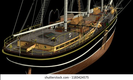 3D rendering of a typical XIX Century 3 mast Clipper used for oceanic freight of tea, wool, cotton, etc. - isolated with single background color. Rendered from a 3d pc model of mine.