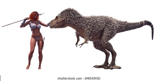 A 3D rendering of a Tyrannosaurus juvenile and a cave woman, isolated on a white background.
