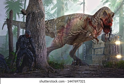 3D rendering of a Tyrannosaurus Rex attacking a security team.