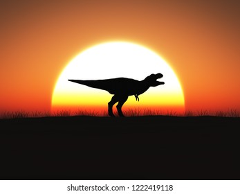 3D rendering of a Tyrannosaurus rex dinosaur in silhouette standing against a big sun at sunset.