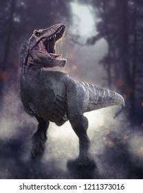 A 3D rendering of Tyrannosaurus Rex roaring at night.