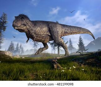 3D rendering of Tyrannosaurus Rex scouting for prey in prehistoric Hell Creek.