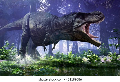 3D rendering of Tyrannosaurus Rex stomping through the wetlands of Hell Creek.