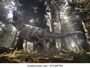 3D rendering of Tyrannosaurus Rex in a woodland Hell Creek.