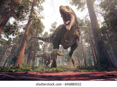 3D rendering of Tyrannosaurus Rex, and its young one, storming through Hell Creek 66 million years ago.