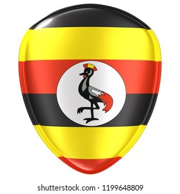3d rendering of an Uganda flag icon on white background.