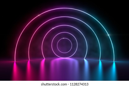 3d rendering of ultraviolet circle portal glowing lines futuristic tunnel, neon lights virtual reality, vibrant magenta cyan spectrum psychedelic laser show