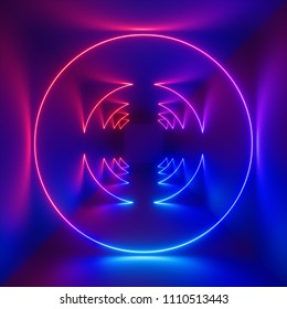 3d rendering, ultraviolet spectrum, glowing rings, circles, circular neon lights, abstract psychedelic square background, cubic room, corridor, tunnel perspective, vibrant colors