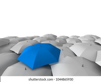 3D rendering umbrellas leadreship concept