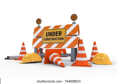 3d rendering under construction sign with traffic cones