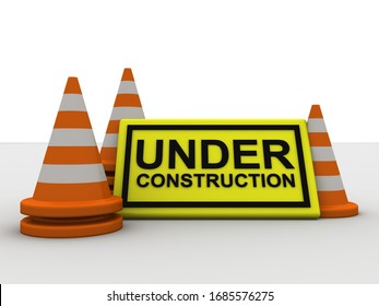 3d rendering Under construction with traffic cone